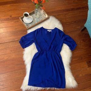 Amanda's uprichard Blue silk faux wrap dress p/s